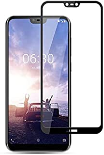 شاشة حماية 3 دي من الزجاج المقوى مع لاصق كامل وتغطية كاملة من الزجاج المقوي 5 دي خاص بجهاز نوكيا 6.1 بلس (نوكيا اكس 6) 5.8...