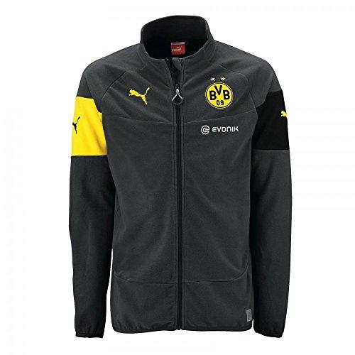 PUMA Herren Jacke BVB Full Zip Fleece with Sponsor, Ebony-Black-Cyber Yellow, XXL