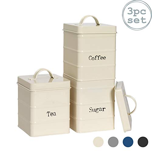 Harbour Housewares 3 Piece Industrial Tea Coffee Sugar Canister Set - Vintage Style Steel Kitchen Storage Caddy with Lid - Cream