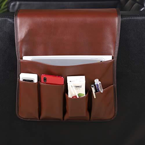HUIJ Organizador de sofá,Organizador de reposabrazos de sofá de Cuero Colgante,Bolsa de Bolsillo de Almacenamiento de Cama para el Bloc de Notas de la Tableta del teléfono móvil (marrón,Negro,