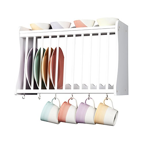Kitchen Plate Rack, White, Wooden, Wall Mounted or suitable for Work Top Storage. Shelf above and hooks under, Traditional design from the Minack Range by Elegant Brands