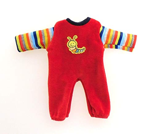 Eigenmarke Puppen Kleidung Nicki Overall rot mit Ringelstreifen für 20 - 22 cm Puppen, Nr. 10824 r
