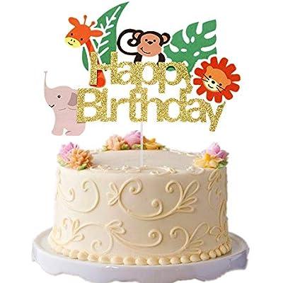 Surprising Cheap Jevenis Jungle Animals Cake Topper Jungle Safari Cake Funny Birthday Cards Online Inifofree Goldxyz