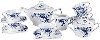 Porlien 17-Pc Bone China Tea Set-Blue Flower Trimmed in Gold-Cups and Saucers Set with Teapot, Sugar Bowl & Milk Jug