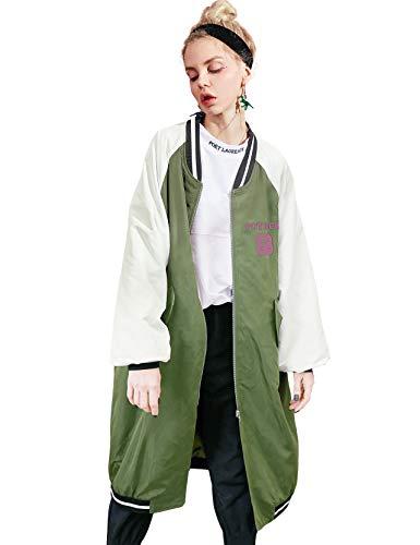 Elf zak dames bomberjack retro motorfiets overgangsjack print mantel parka trenchcoat light lange bomber jas
