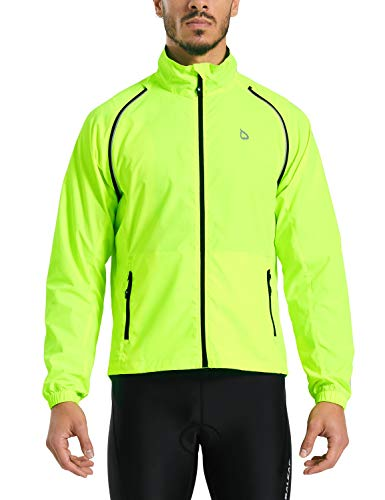BALEAF Men's Cycling Jacket Vest Windproof Water-Resistant Coat Breathable Running Outdoor Sportswear Fluorescent Yellow Size M