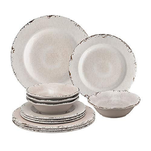 Gourmet Art 12-Piece Crackle Heavyweight and Durable Melamine Dinnerware Set, Cream, Service for 4. Includes Dinner Plates, Salad Plates and Bowls. for indoors Outdoors Use and Everyday Use.