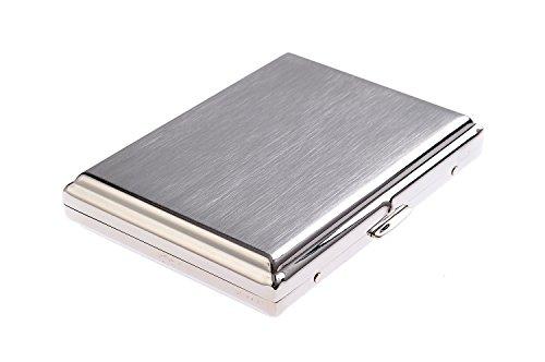 Quantum Abacus Zigarettenetui aus hochwertigem Stahl, klassisch minimalistisch, für 16 Zigaretten, Mod. KC4-01 (DE)