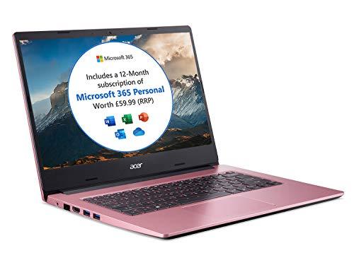 Acer Aspire 1 A114-33 14 inch Laptop (Intel Celeron N4500, 4GB RAM, 64GB eMMC, Full HD IPS Display, Windows 10 in S Mode, Office 365 Personal, Pink)