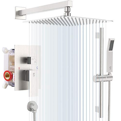 SR Sun Rise Slide Bar Shower Faucet Brushed Nickel Bathroom 12 inch Luxury Rain Mixer Shower Combo Set Wall Mounted Rain Shower Head System