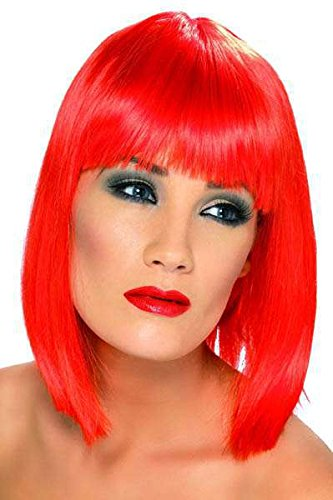 Perruque glam rouge couleur fluo