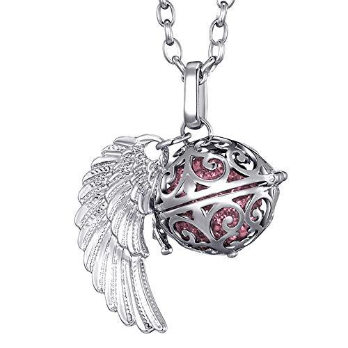 Morella Collar ángel de la Guarda de Acero Inoxidable 70 cm con Colgante alas de ángel y Bola de resonancia de Color Rosa Ø 16 mm para Damas en Bolsa para Joyas