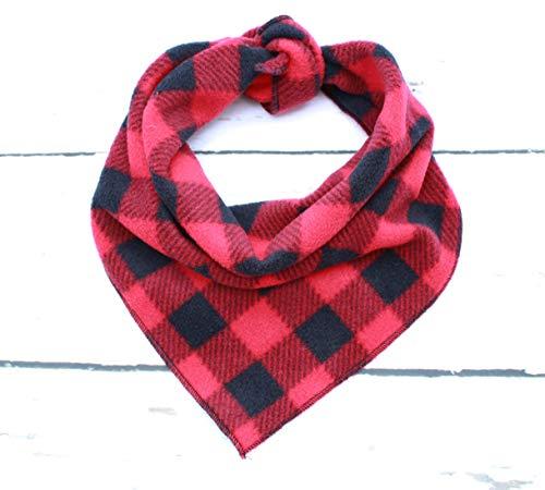 Pet Pooch Boutique Rood & Zwart Check Fleece Bandana voor Hond, Medium/Groot, M