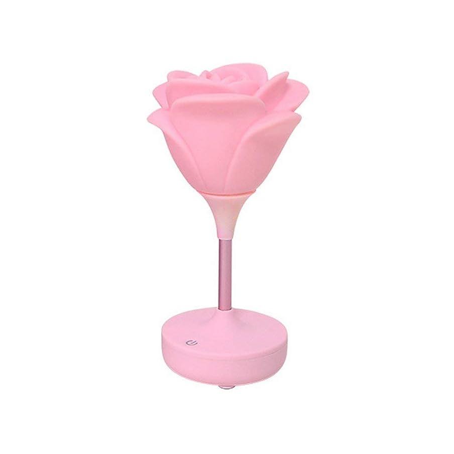 ガイダンスギャップカバーテーブルランプライト 小さい夜ランプのシリコーンローズUSB充満LEDはUSB充満、白をつけます 寝室の寮部屋のギフト用 (色 : Pink)