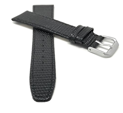 Extra Lang (XL) Leder Uhrenarmband 20mm Schwarz, Eidechsenmuster, auch verfügbar in braun