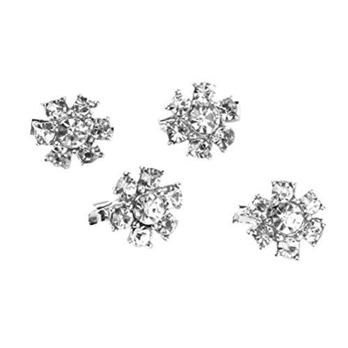 Winomo Delicati affascinante Mini strass fiore Pin spilla clip - 4 pezzi