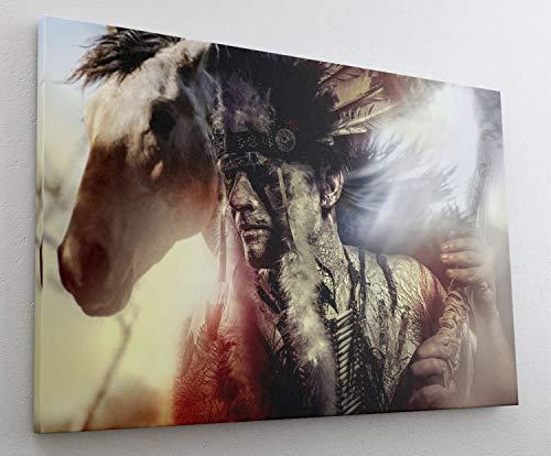 Indianer Häuptling Pferd Retro Leinwand Bild Wandbild Kunstdruck L1010 Größe 70 cm x 50 cm