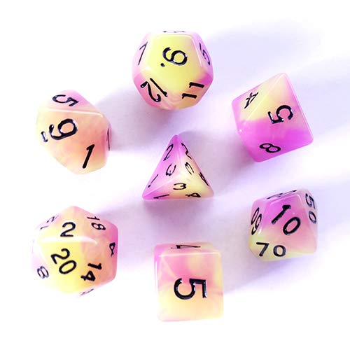 Galactic Dice HD Dice Sets - Purple & Green (Glow-in-The-Dark) Set of 7 Dice
