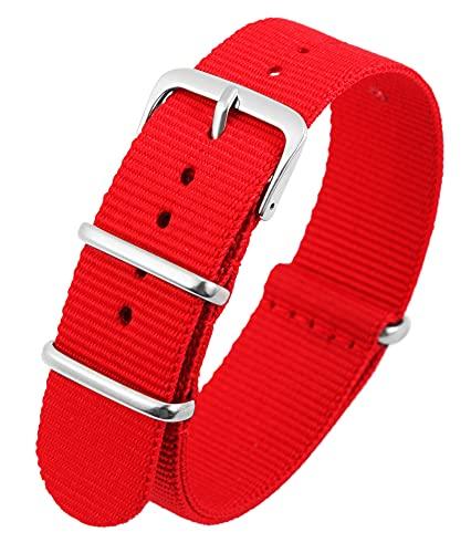 Excellanc-Uhrenarmband Ersatz Nylon Textil Edelstahl Dornschließe Breite 14-22 mm (Stegbreite: 20 mm, rot)