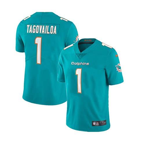 Tua Tagovailoa # 1 Miami Dolphins Herren Rugby Jersey Fußballtrikot, Stickerei Kurzarm Sport Unisex Fans Trikots Atmungsaktives T-Shirt Wiederholbare Reinigung-Blue B-M(175cm~