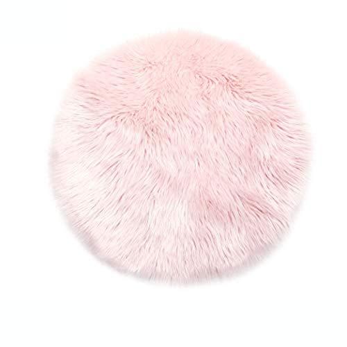 Lammfell-Teppich Kunstfell Schaffell Imitat | Wohnzimmer Schlafzimmer Kinderzimmer | Als Faux Bett-Vorleger oder Matte für Stuhl Sofa (Rosa - 30 cm Rund)