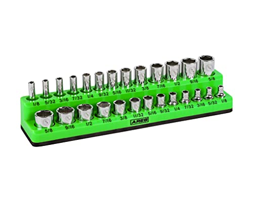 ARES 60005-26-Piece 1/4 in SAE Magnetic Socket Organizer -GREEN -Holds 13 Standard (Shallow) and 13 Deep Sockets -Perfect for your Tool Box -Also Available in RED