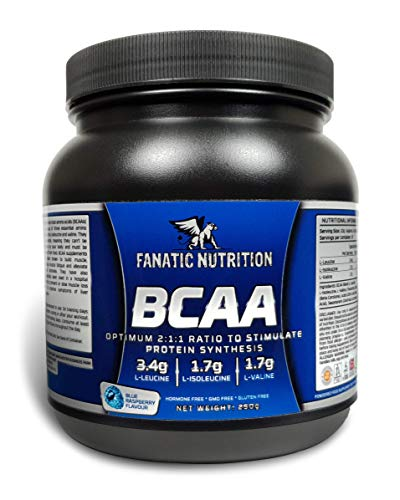 Fanatic Nutrition BCAA, 2:1:1 Optimal Ratio, Essential Amino Acids, 25 Servings, 250g, Blue Raspberry