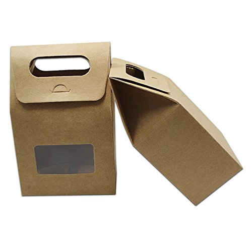 "Kraft Paper Box Paperboard Box Gift Handle Box Clear Plastic Window Stand Up Folding Side Cardboard for Biscuit Wedding Party Favor Supplies (20 Pack in Brown / 3.93""x2.36""x6.3"" (10x6x16cm))"