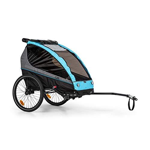 Klarfit Kiddy King Fahrradanhänger für Kinder, 2-Sitzer max. 40 kg, 2-in-1, nutzbar als Jogger-Buggy, Universalkupplung, 5-Punkt-Gurt, 2 20