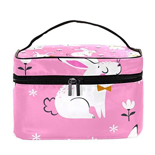 ANINILY - Motif sans couture de lapins blancs - Multifonction - Organiseur de toilette portable - Sacs cosmétiques de voyage - Avec poche en filet