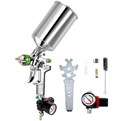 Goplus HVLP Spray Gun, Gravity Feed Paint Gun Auto Paint Air Spray Gun, 2.5mm Nozzle Size 1000 cc Aluminum Cup W/Air Regulator