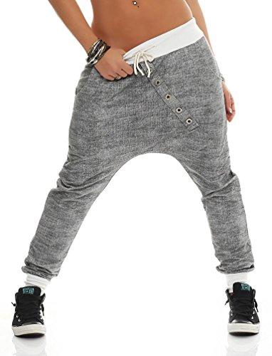 131 Damen Hose Sweatpants Jogginghose Baumwolle Freizeithose Boyfriend Bagg Sporthose mit Gummibund Weiß