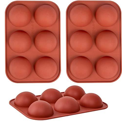 Molde para chocolate, 3 paquetes de moldes para hornear para hacer bombas de chocolate caliente, pasteles, gelatinas, mousse de cúpula (marrón, mediano)