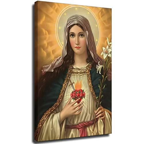 El Inmaculado Corazón de María Cristo Póster Pinturas sobre Lienzo Arte Moderno Decorativo Pared Fotos Decoración del Hogar Marco-estilo1 60 x 90 cm