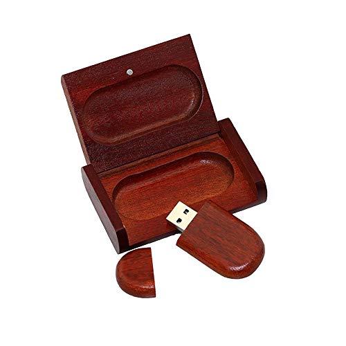 128GB USB 3.0 Pendrive Real de Madera Ovalada con Caja Material de Madera roja Unidad Flash USB Memory Stick Disco para Almacenamiento Externo - Civetman