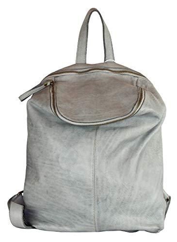BZNA Bag Richie hellgrau grey Backpacker Designer Rucksack Damenhandtasche Schultertasche Leder Nappa sheep ItalyNeu