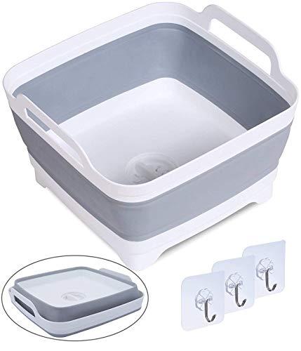 DUOFIREバケツ折りたたみ洗い桶アウトドアバケツ大容量9L旅行用品洗濯キッチン排水栓付き栓から水漏れしない取っ手付き角型説明書付き(1個)