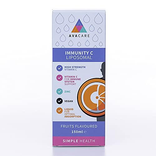 AvaCare Vitamin C Liposomal Immunity Liquid 150ml|1000mg Vit C & 4mg zinc + Acerola & Rutin | Vegan | Immune Support & Virus Protection | UK Made | Orange Flavour