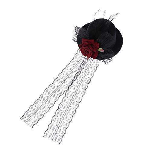 Holibanna Mini Hut Haarspange Vintage Gothic Steampunk Mini-Hut Clip Fascinator Hut Haarspange Haarschmuck Kostüm Outfit Accessoire für Halloween Party Damen Frauen Mädchen Kinder (Rot)