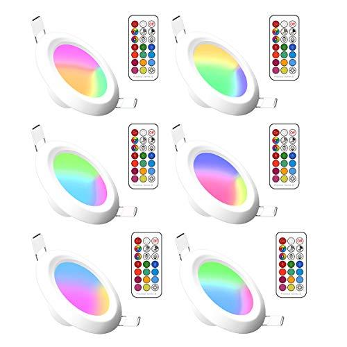 RGBW LED Einbauleuchten Dimmbar Rundes Panel Verborgen Led Farbwechsel Deckenleuchte mit integriertem LED-Treiber und Fernbedienung für Wohnzimmer, Schlafzimmer, Küche, Bad (6Pack, RGB Warm White, 5W)