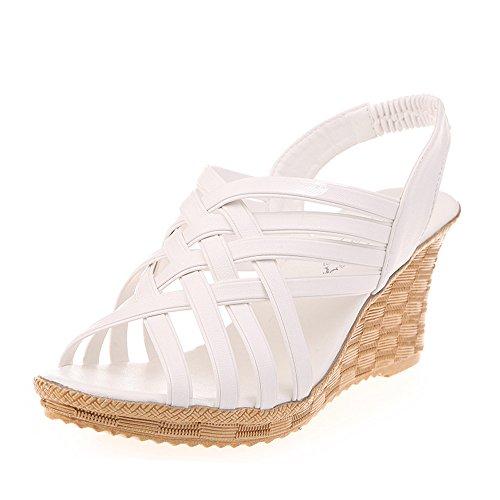 Patifia Sandalen Damen Sommer, Frauen-Einfarbig hohe Plattformen Fotoausschnitte Muster-Karierte Bandage Gurt-Gladiator-Sandalen-Strand Schuhe Wedges Schuhe Damen Pumps