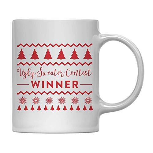 mordaza de la taza de café de la Navidad, ganador del concurso del suéter feo, ideas del regalo del elefante blanco de la familia del compañero de trabajo de la oficina por debajo de $ 10 o $ 15 11 oz