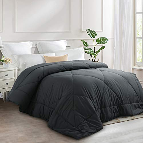 INGALIK Fluffy Comforter Reversible Crystal Velvet Plush Down Alternative Quilted Comforter with Corner Ties - Lightweight Thick Blanket - Winter Warm - Breathable (Grey-Fluffy, Twin(64×88inch))