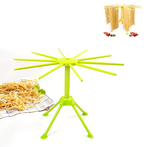 Hiprecky Noodle Rack Pasta Drying Rack Collapsible Spaghetti Dryer Rack Pasta Drying Stand with 10 Bar Handles Green