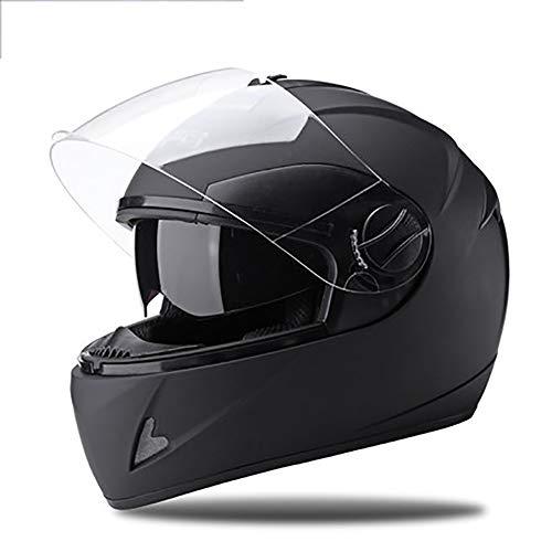 YXDDG Motorhelm Integraalhelm Motorfiets Street Bike Open Face met klep: Integraalhelm mat zwart 54-60cm zwart.