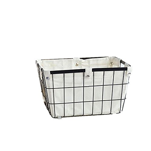 DODXIAOBEUL Handmade -Open Storage Bread Food Basket,Kitchen Cabinet and Pantry Storage Organizer Bin & Containers- Two Cut-Out Handles Wire Metal with Canvas Lining 13x10x7.5 Inches Black