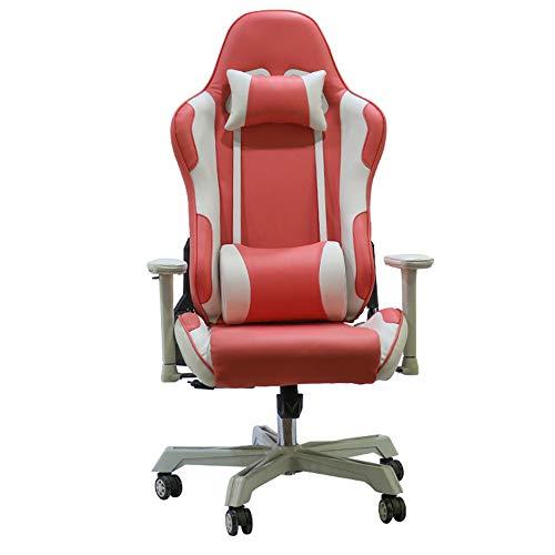 Silla ergonomica para juegos, silla Computer Racing 160 ° supina 360 ° rotacion con funcion de oscilacion Respaldo alto Silla para computadora Respaldo y reposacabezas ajustable y cojin lumbar,Rosado