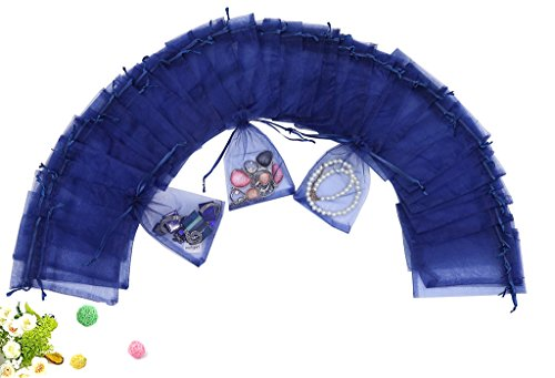 Wudygirl 100pcs Drawstring Organza Bag 4X6 Jewelry Lipstick Cosmetics Pouches Bags Baby Shower Party Wedding Favor Seashell Candy Bags(Blue 4X6) (100PCS Navy Blue 4X6)
