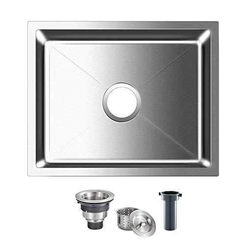 ROVOGO 19.7 x 15.7 inch Undermount Stainless Steel Kitchen Sink Single Bowl, Handmade Bar Prep Sink with Basket Strainer