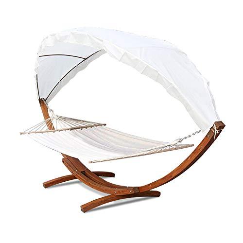 Hengda Hängematten mit Gestell Holz+Dach Hängematte Hängemattengestell Hammock bis 200kg 2 Personen Outdoor